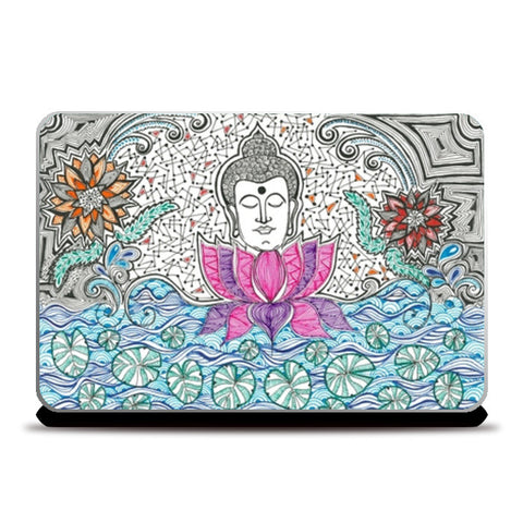 Laptop Skins, Buddha and Lotus | Enlightenment | Peace Laptop Skins | Artist : Amulya Jayapal, - PosterGully