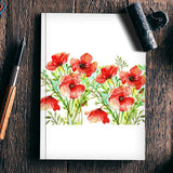 Elegant Red Poppy Flowers Floral Garden Design Notebook | Artist : Seema Hooda