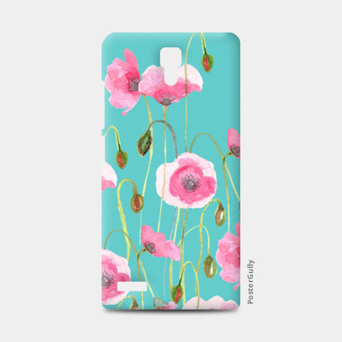 Beautiful Painted Pink Poppy Flowers Mint Floral Design Redmi Note Cases | Artist : Seema Hooda