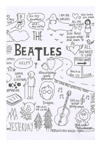 Wall Art, Beatles doodle b&w Wall Art | Artist : Anjali Nilakantan, - PosterGully