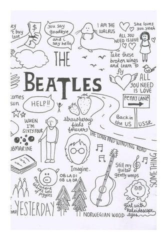 PosterGully Specials, Beatles doodle b&w Wall Art | Artist : Anjali Nilakantan, - PosterGully