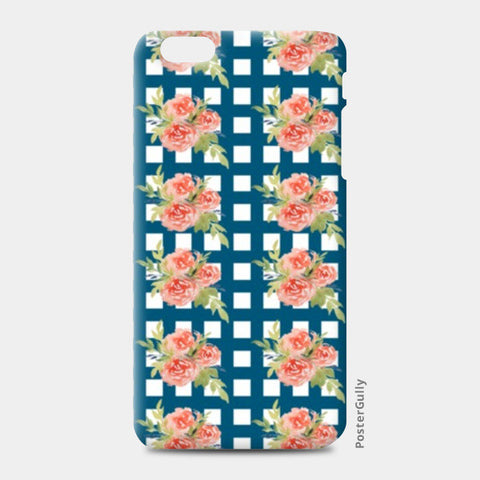 iPhone 6 Plus / 6s Plus Cases, Blue Checkered Floral Pattern iPhone 6 Plus / 6s Plus Cases | Artist : Seema Hooda, - PosterGully