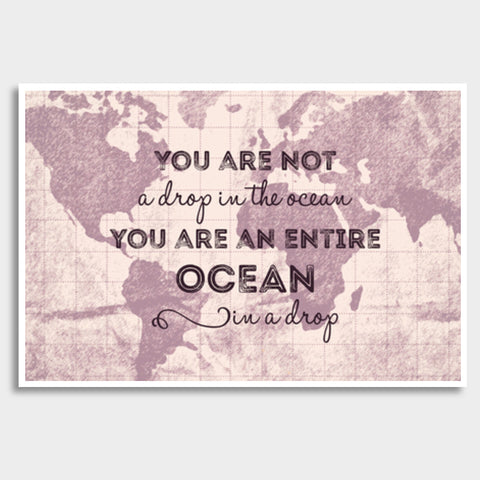 Motivational Quote World Map Giant Poster | Artist : Inderpreet Singh