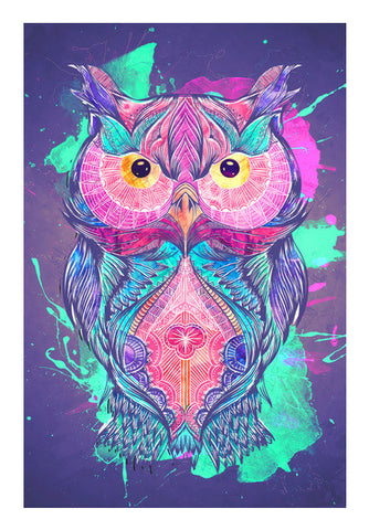 The night owl watercolour digital Wall Art | Artist : Cuboidesign