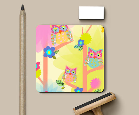 Coasters, owl pattern Coaster | Artist: Devina Jain, - PosterGully
