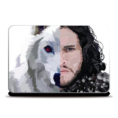 Laptop Skins, Jon Snow and Ghost captioned Laptop Skin | Artist: Armaan Sandhu, - PosterGully