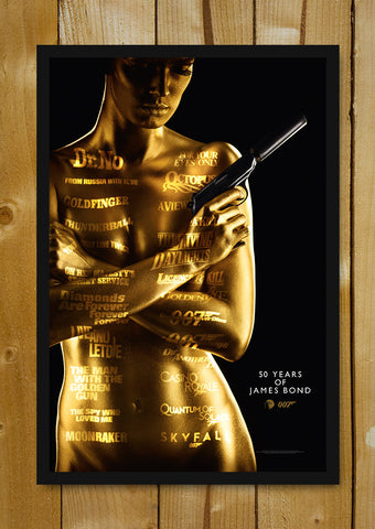 Glass Framed Posters, 50 Years Of James Bond Glass Framed Poster, - PosterGully - 1