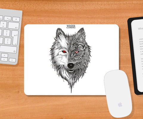 Game Of Thrones | Winter is Coming | Wolf Mousepad | Artist : Pragya Bhandari