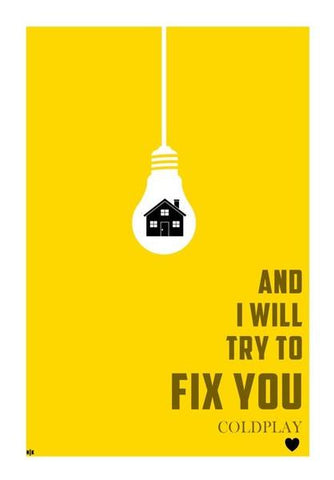 PosterGully Specials, COLDPLAY- I WILL TRY TO FIX YOU Wall Art | Artist : Naman Kapoor, - PosterGully