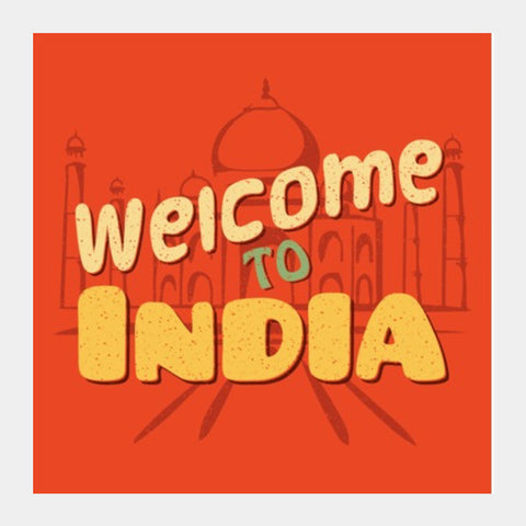 Square Art Prints, Welcome to India retro Artwork Square Art | Artist : Abhishek Kanungo, - PosterGully