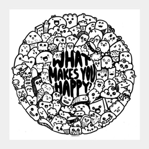 What makes you happy doodle Square Art Prints | Artist : Naeema Rezmin