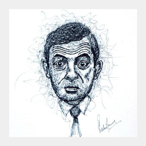 PosterGully Specials, Mr Bean Scribbling Square Art Prints | Artist : Rahul Tanwar, - PosterGully