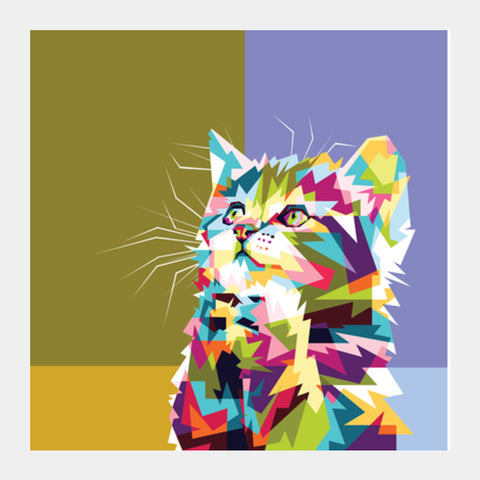 Colorfully Cat Hope Square Art Prints | Artist : Inderpreet Singh