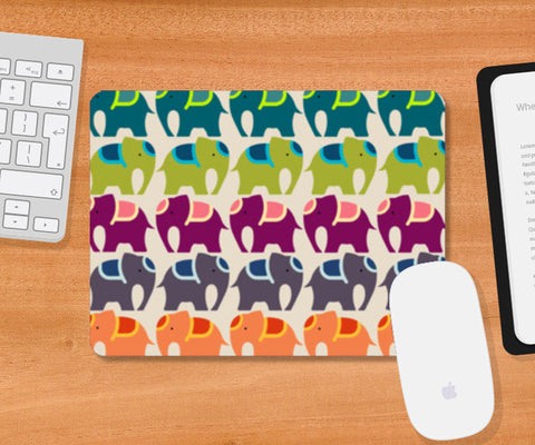 Colourful Elephants  Mousepad | Artist : Sriparna Chandra