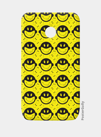 Monkey tongue out on black and yellow Moto E Cases | Artist : Designerchennai