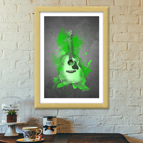 Guitar Splash | Green Premium Italian Wooden Frames | Artist : Darshan Gajara's Artwork