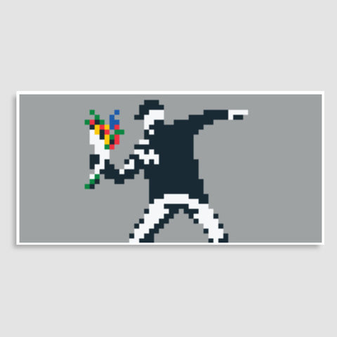 Banksy Flower Thrower Pixel Door Poster | Artist : 8bitbaba