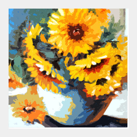 flower and pot Square Art Prints | Artist : Pradeesh K