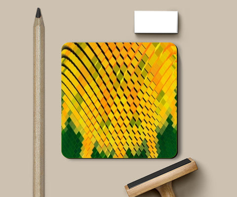 Coasters, Yellow 3D Blocks Coasters | Artist : CK GANDHI, - PosterGully