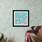 Abstract Pink Poppies Nature Painting Mint Floral Art Poster Premium Square Italian Wooden Frames | Artist : Seema Hooda