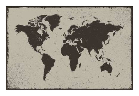Deep Black Tropical World Map Wall Art  | Artist : Inderpreet Singh