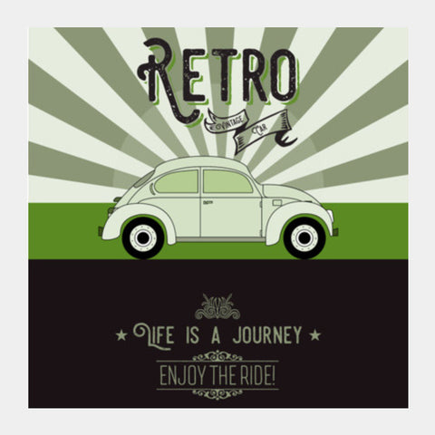 Retro vintage car on green Square Art Prints | Artist : Designerchennai
