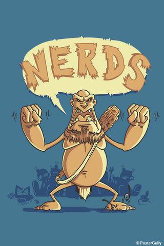 Wall Art, Ogre Hates Nerds Blue | By Captain Kyso, - PosterGully - 1
