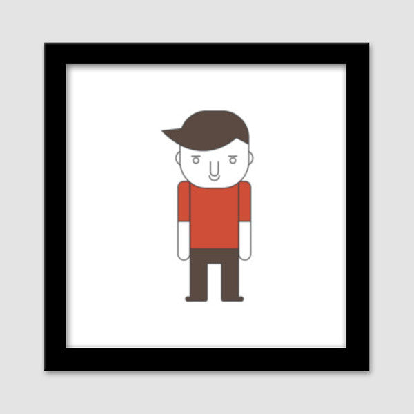 Cartoon Young Sad Guy Premium Square Italian Wooden Frames | Artist ...
