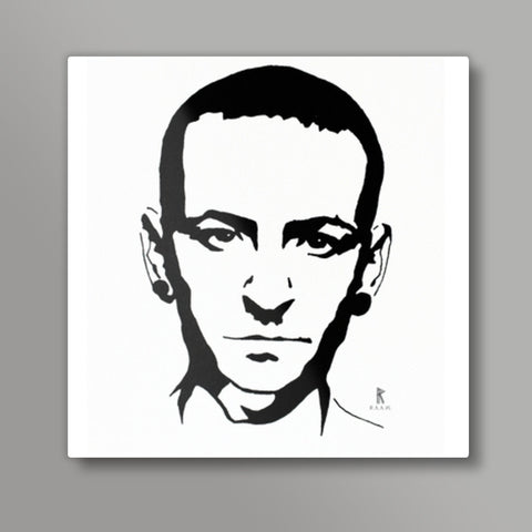 Chester Bennington Ink Square Metal Prints | Artist : Ajay Varma