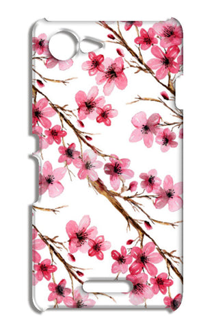 Elegant Pink Cherry Blossoms Design Floral Pattern Sony Xperia E3 Cases | Artist : Seema Hooda