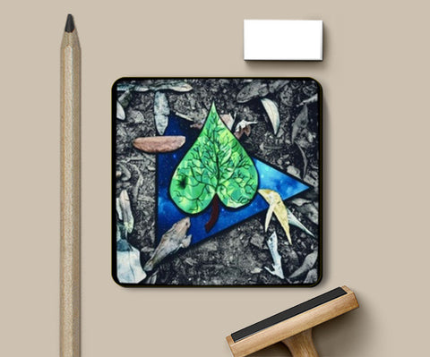 Emerald leaf space  Coasters | Artist : Sidhant Sharma