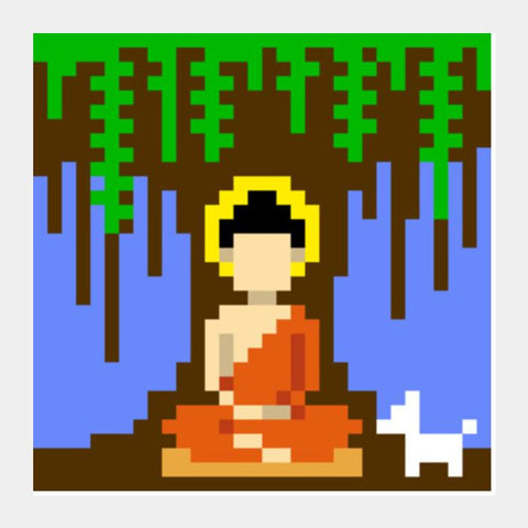 PosterGully Specials, Buddha under a tree pixel Square Art Prints | Artist : 8bitbaba, - PosterGully