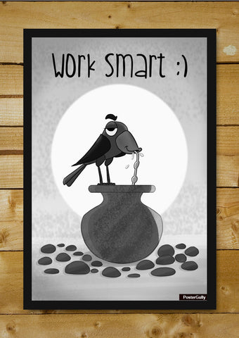 Wall Art, Work Smart Black Artwork | Artist: Prashant Shikare, - PosterGully - 1
