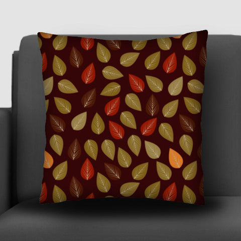 Seamless pattern with multicolored leaf on dark background Cushion Covers | Artist : Designerchennai