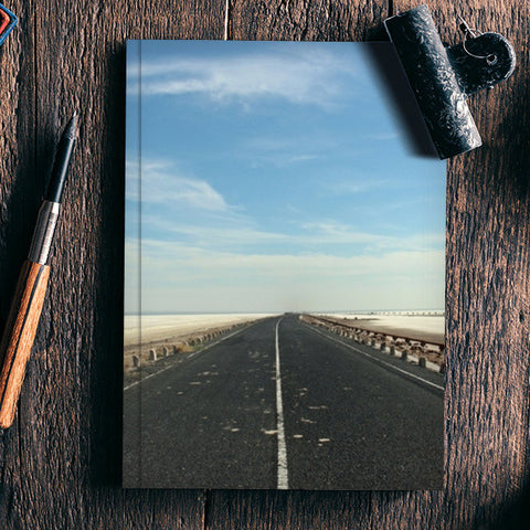 White salt lake road notebook Notebook | Artist : The Storygrapher