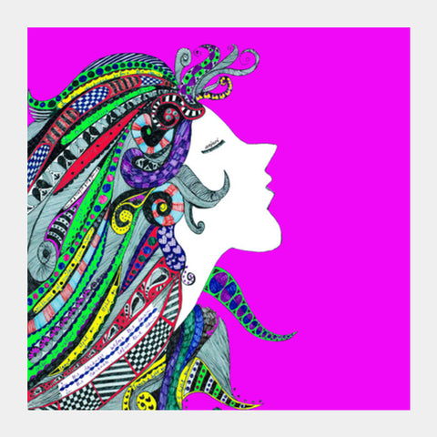 Girl in Song (pink) Square Art Prints | Artist : Anjuri Jain