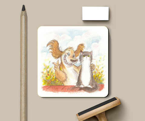Coasters, Cat and Dog Art Coaster | Artist: Divya George, - PosterGully