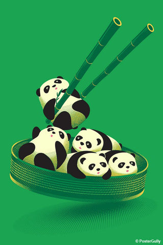 Wall Art, Panda Dumplings - Green | By Captain Kyso, - PosterGully - 1