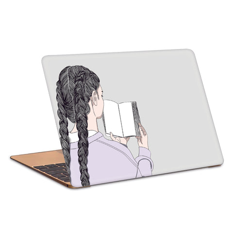 Girl Reading A Book Minimal Artwork Laptop Skin