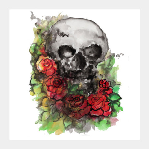 a skull symbolize our morality and death's relationship to life. Square Art Prints | Artist : amit kumar