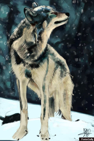 Wall Art, Wolf Sketch Artwork | Artist: Parakram Elisha Ram, - PosterGully - 1