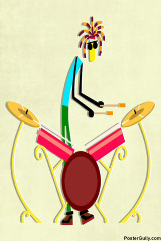 Wall Art, Minimal Drum Set Artwork | Artist: Prashant Shikare, - PosterGully - 1