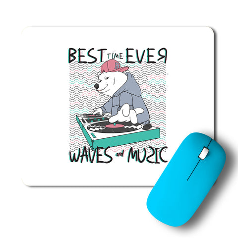 Cool Bear Music Waves Artwork Mousepad