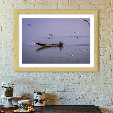 Boatman and the Birds Premium Italian Wooden Frames | Artist : Ardour Art