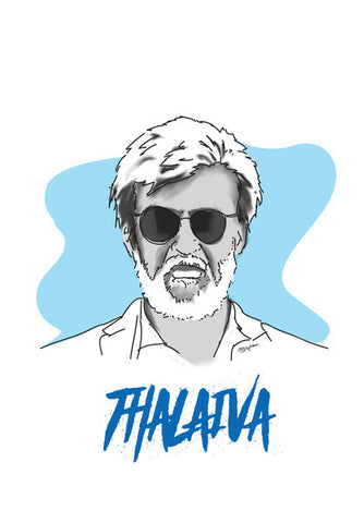 Rajnikanth Achromatic Artwork Wall Art | Artist : Anupam Prasoon