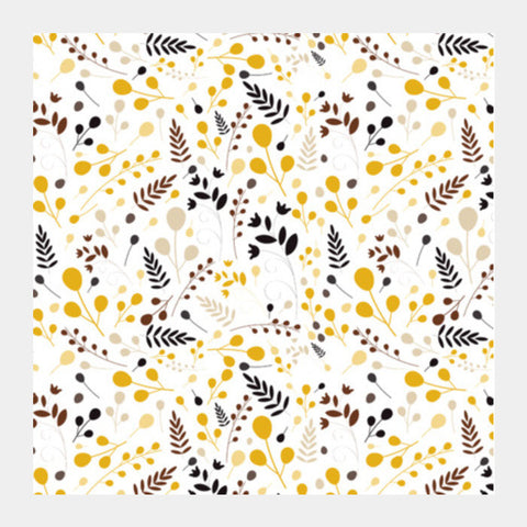 Floral Seamless Pattern On Yellow Square Art Prints PosterGully Specials