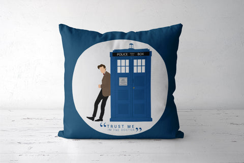 The Doctor and TARDIS Cushion Cover | Artist: Mohak Gulati