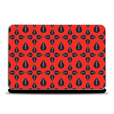 Seamless pattern with leaves on red background Laptop Skins | Artist : Designerchennai