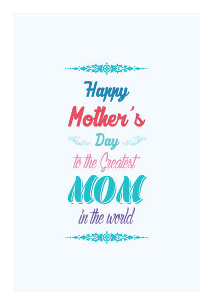 Greatest Mom Typography Wall Art Artist Designerchennai