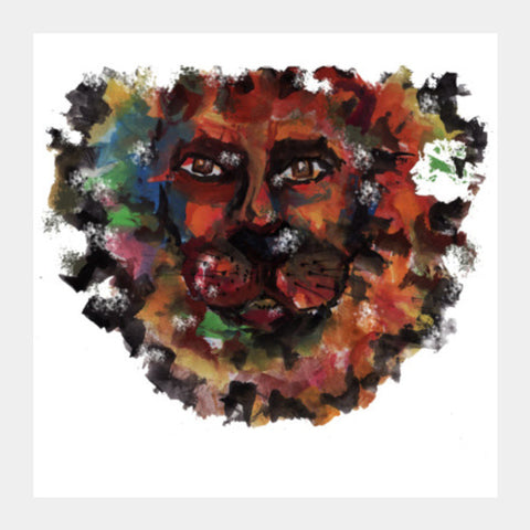lion face Square Art Prints | Artist : amit kumar